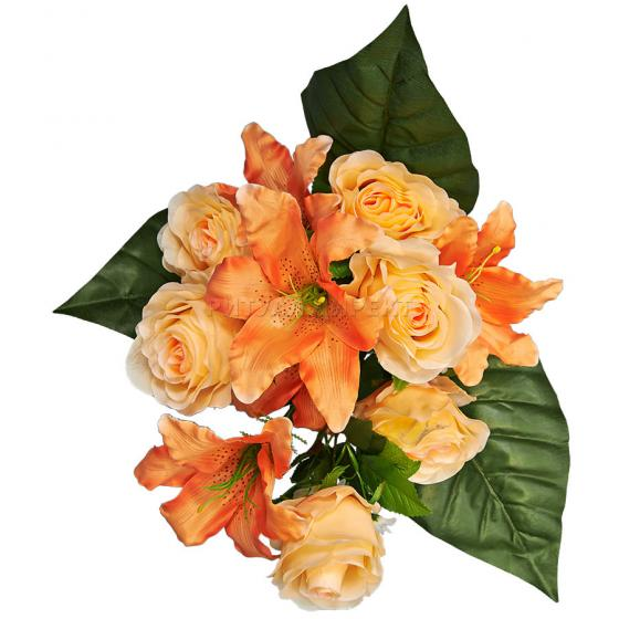 Букет роз с лилией